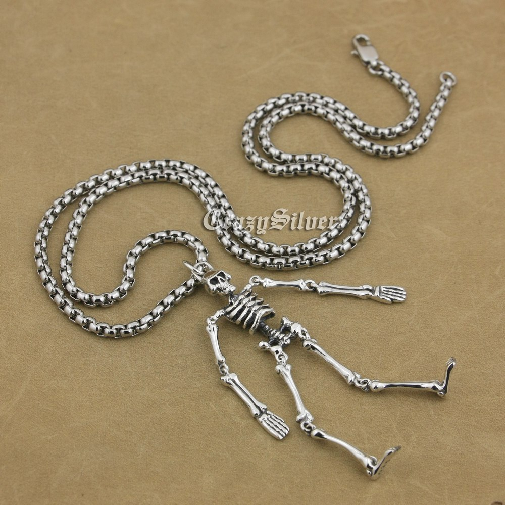 925 Sterling Silver Whole Body Skeleton Mens Biker Rocker Punk Pendant 9V018 (Steel Necklace 24 inches) solid 925 sterling silver skull mens biker pendant 8c011 with matching stainless steel necklace