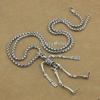 925 Sterling Silver Whole Body Skeleton Mens Biker Rocker Punk Pendant 9V018 (Steel Necklace 24 inches)