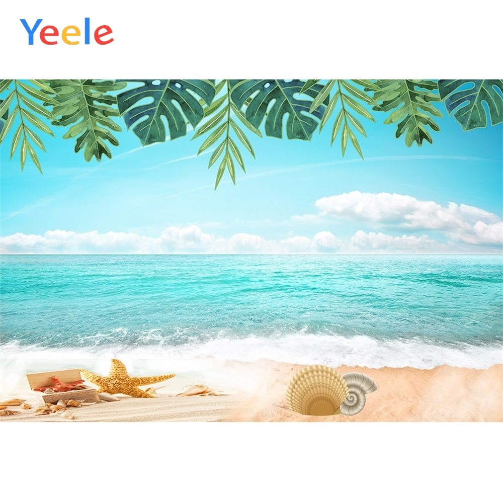 Yeele Summer Seascape Wallpaper Shell Waves Sky Photography Backdrops Personalized Photographic Backgrounds For Photo Studio