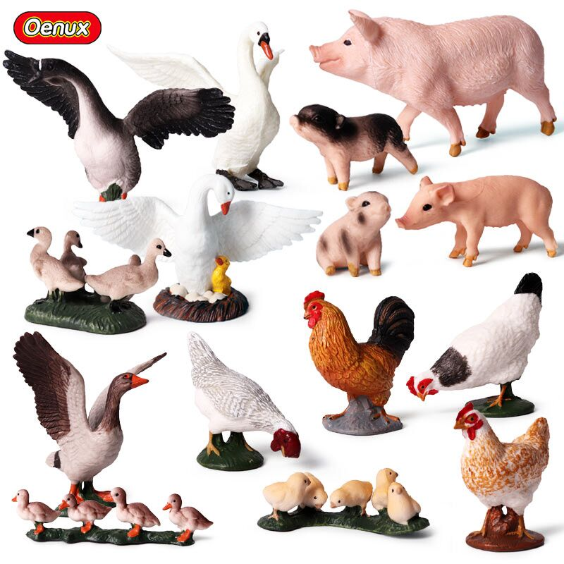 Oenux Farm Animal Duck Family Model Action Figures Lovely Pig Goose Figurines High Quality Education Collection Toys For Kids lps pet shop toys rare black little cat blue eyes animal models patrulla canina action figures kids toys gift cat free shipping