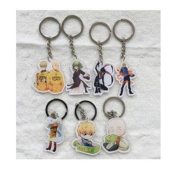 Anime Keychain Cute Kawai One punch man Saitama Sensei Genos tatsumaki Keychain Keyrings Portachiavi Pendant