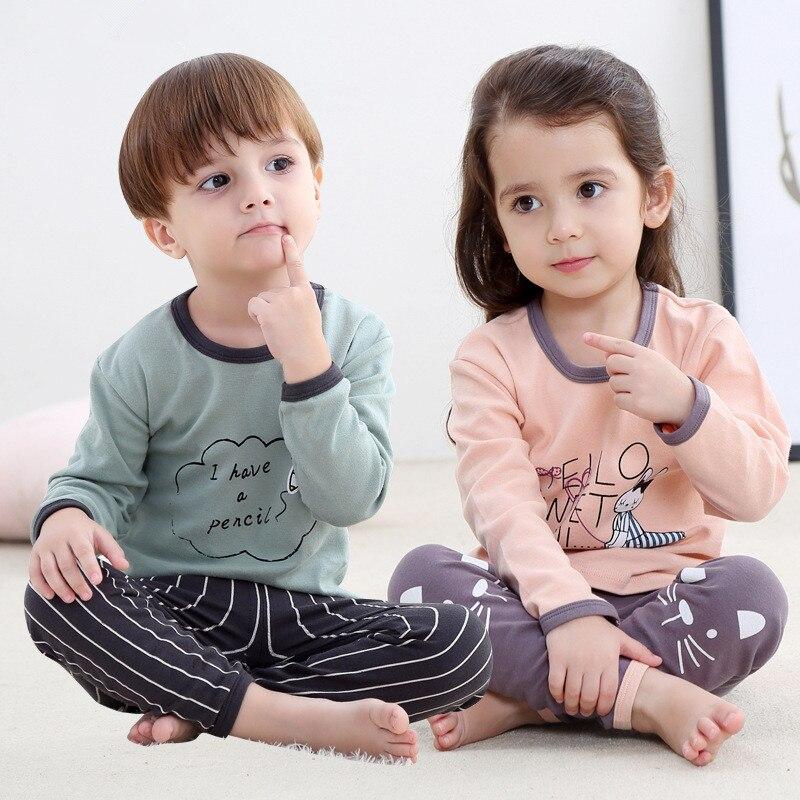 2018 Nieuwe Katoen Kinderen Pyjama Sets Warm Houden Baby Meisjes Jongens Kleding Cartoon Kids Nachtkleding Lange Mouw Tops + Broek 2 Stuks