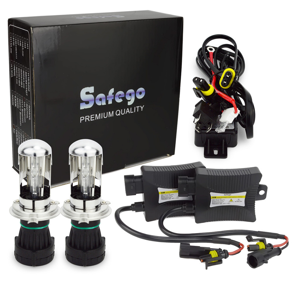 Safego 55 W H4 55 W HID Hi/lo Bixenon kit H4 bi xenon h4 flexible high low dual beam 8000 K 6000 K 4300 K Bi-xenon hid kit H4-3