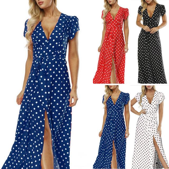 Women's Boho Polka Dot Maxi Dress