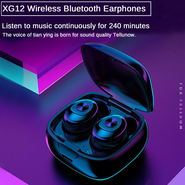 XG12 TWS Bluetooth 5.0 Earphone Stereo Wireless Earbus HIFI Sound Sport Earphones Handsfree Gaming Headset with Mic for Phone 5