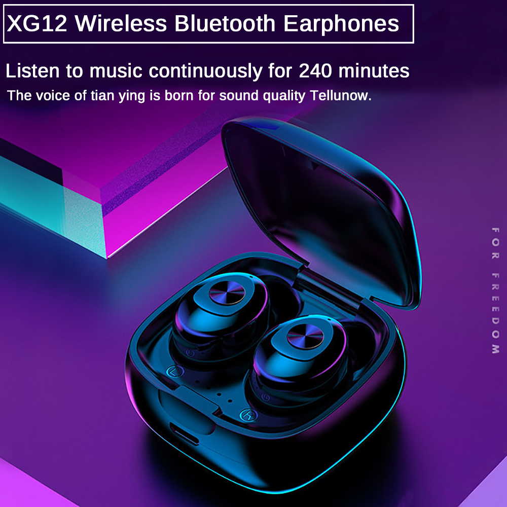 XG12 TWS Bluetooth 5 0 Earphone Stereo Wireless Earbus HIFI Sound Sport Earphones Handsfree Gaming Headset