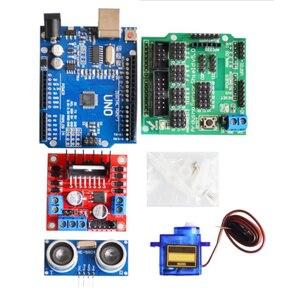 Image 2 - Nouveau moteur de suivi dévitement Robot intelligent Kit de châssis de voiture encodeur de vitesse boîte de batterie 2WD module à ultrasons pour kit Arduino