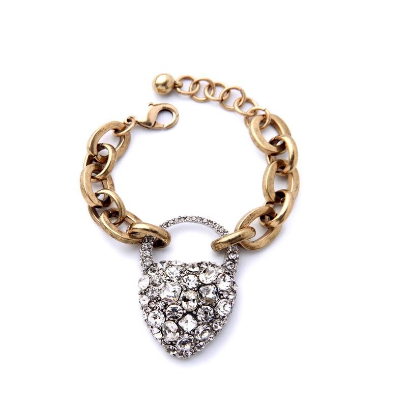 Sparkling Crystal Block Ring Chandelier: Sparkling Crystal Heart Pendant Bracelet Gold Color Chunky