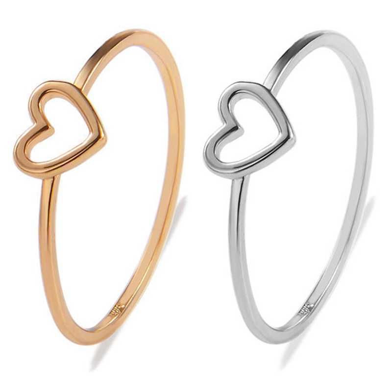 2019  Gold Color Heart Love Shape Charm Ring Feminino Midi Toe Bague Friendship Eternal Forever Best Gift
