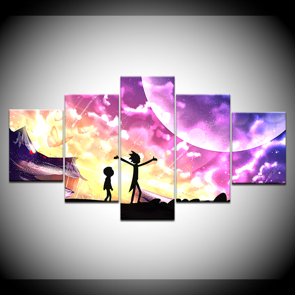 Christmas Distinctive Present Wall Image Canvas Portray 5 Panel Anime Science Fiction Comedy Poster Rick And Morty Image House Decor Portray & Calligraphy, Low-cost Portray & Calligraphy, Christmas Distinctive...