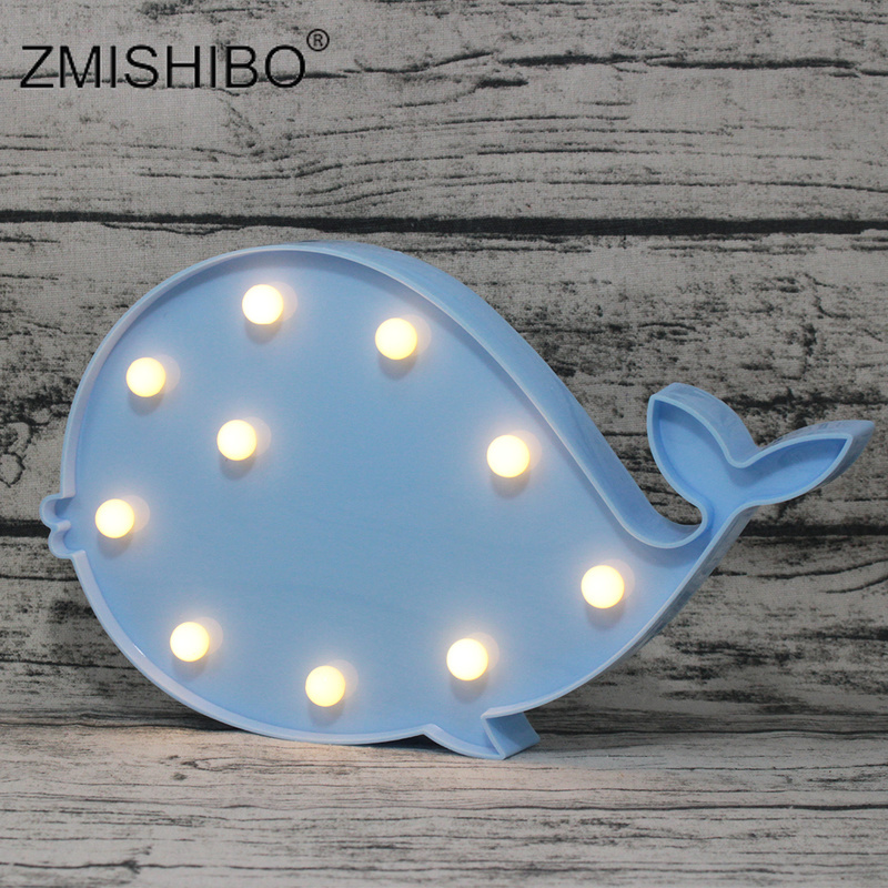 ZMISHIBO LED Night Light Cute Whale Shape Pink Blue Animal Kids 2W Bedsides Lamp Fish Toy Decoration For Baby's Room AA Battery