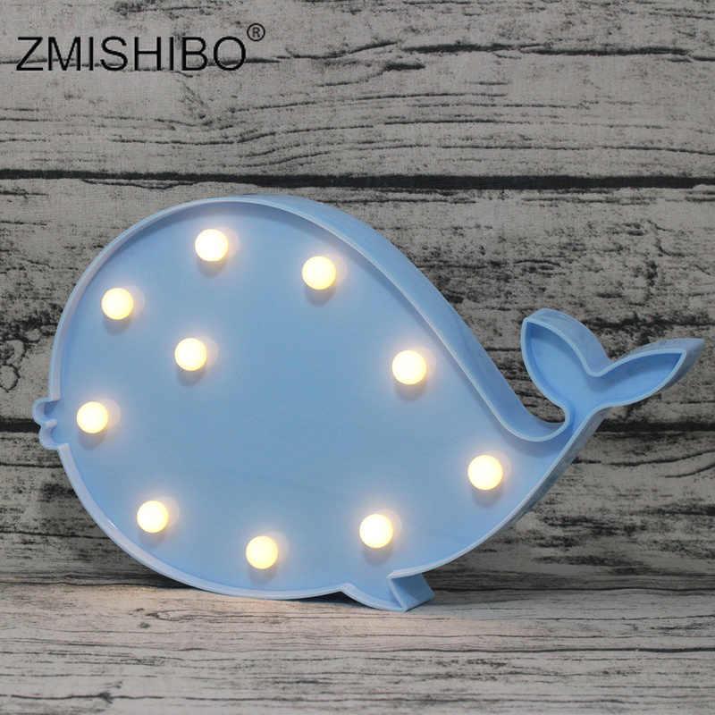 ZMISHIBO LED luz de noche Linda forma de ballena rosa azul Animal niños 2W Bedsides lámpara pez juguete decoración para la habitación del bebé AA batería