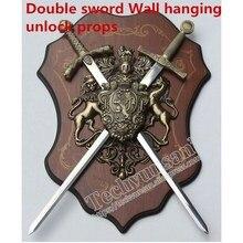 Двойной меч дерево настенная доска реквизит положить на меч, чтобы открыть замок, чтобы пережить игровой реквизит для побега из таинственной комнаты