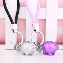 Pair of Couple Keychains Metal Keychain with Bell Fashion Lover Pendants 3D Pig Shape Car Keyring For Women Men