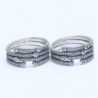 S925 Sterling Silver Ring Shimmering Ocean Frosty Mint Clear Crystal Rings For Women Wedding Gift Fine