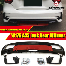 Diffuser 304 Stainless Steel 4 Outlet Exhaust Tip suitable for A class W176 A180  A200 A220 A250 A45 ABS Red Sport Edition16-18