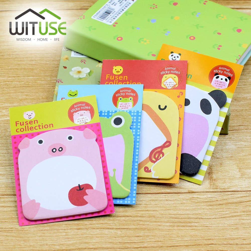 WITUSE 4Pcs Charming Animal Shape Sticky Notes Bookmark Memo Book Marker Paper Sticker 8 Styles School Home Office Supplies