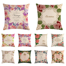 Floral Vintage Cushion Cover Retro Flowers Pillowcase Linen for Couch Sofa Chair Decorative Bed Pillow Covers Home Decor 45*45cm