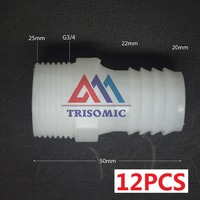 12 Pieces 20mm G3 4 Straight Connector Plastic Pipe Fitting Barbed With Thread Material PE Joiner