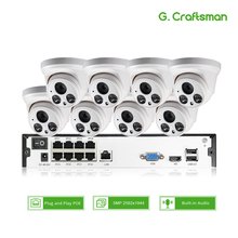 8ch 5MP с аудиовходом PoE Комплект H.265 Системы видеонаблюдение Безопасность NVR до 16ch 5MP Крытый ИК ip-камера видеонаблюдения «сделай сам» г. мастер