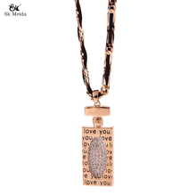 2017 New Design Fashion Luxury Jewelry Manufacturing Necklace Charm Perfume Bottle For Women With Word Sweater Chain HL-05