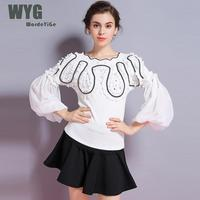 Korean Off The Shoulder Sweater 2018 Autumn Sequined Pleated Ruffles Lantern Sleeve Black White Ladies Knit Pullovers and Tops