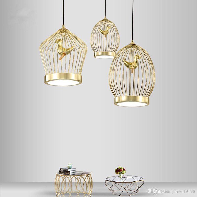 Modern LED Pendant Lights Gold Bird Cage Pendant Lamp Art Creative Gold Pendant Lights New Fixtures Home Decor Lighting B166