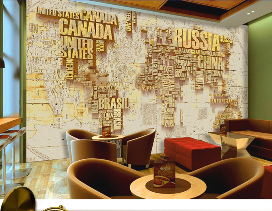 ShineHome 4 Style 3D Custom Russia Canada World Map Wallpaper Mural ...