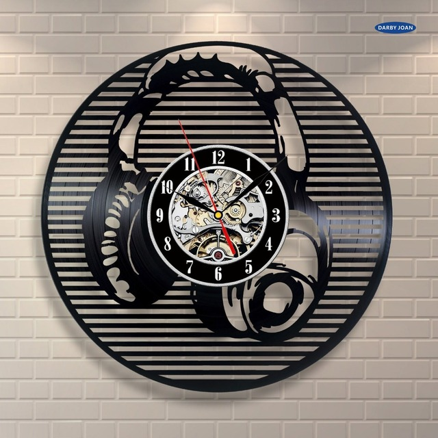 Online Shop Headphone Music Dj Art Vinyl Record Clock Wall Decor
