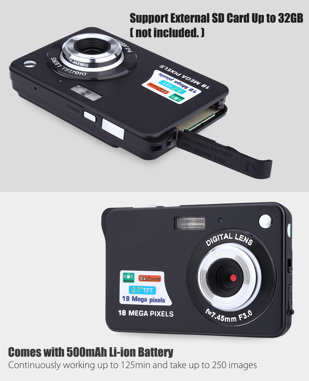 1 X 18.0MP Digital Camera 1 X Power Adapter 1 X USB cable 1 X Lithium  Battery 1 X CD 1 X Camera Pouch 1 X Strap 1 X User manual