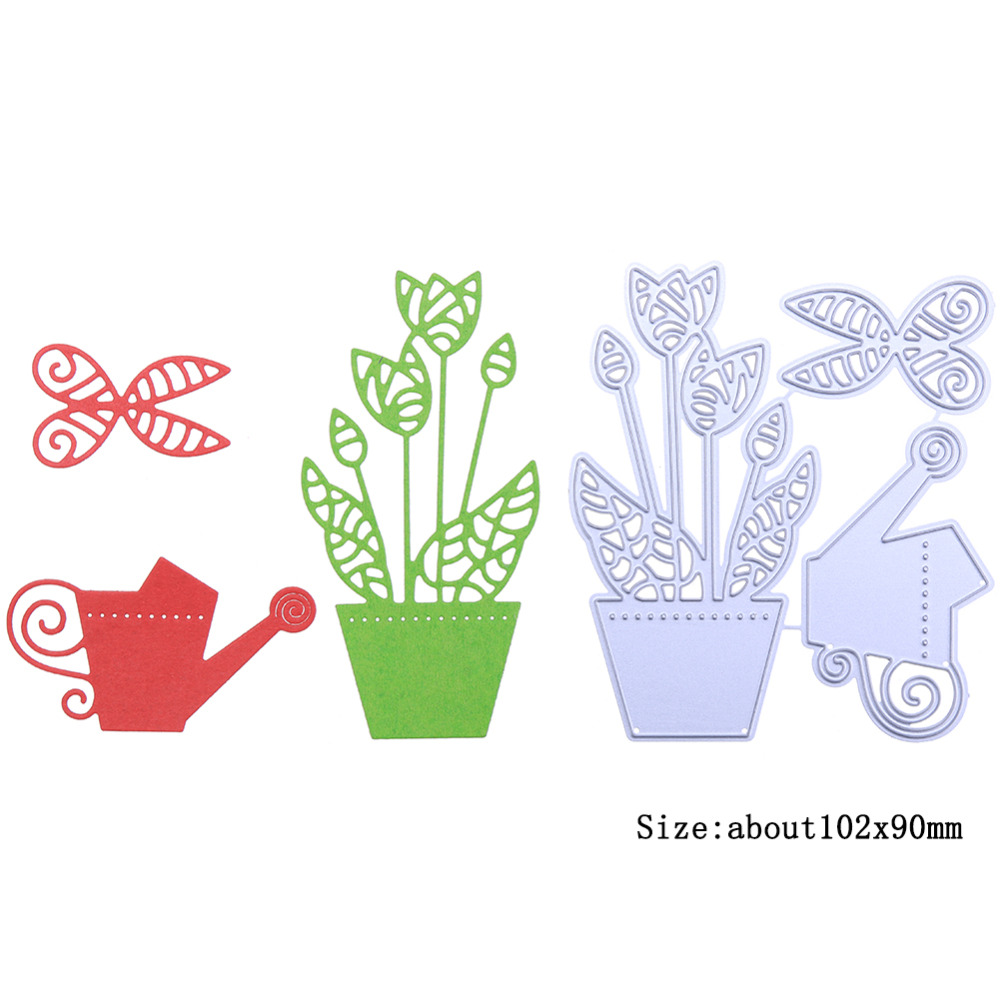 New Design Watering Kettle Scissors Potted Plants Sets Metal Cutting Dies For Photo Album Decorative Paper Card Embossing Dies in Cutting Dies from Home Garden