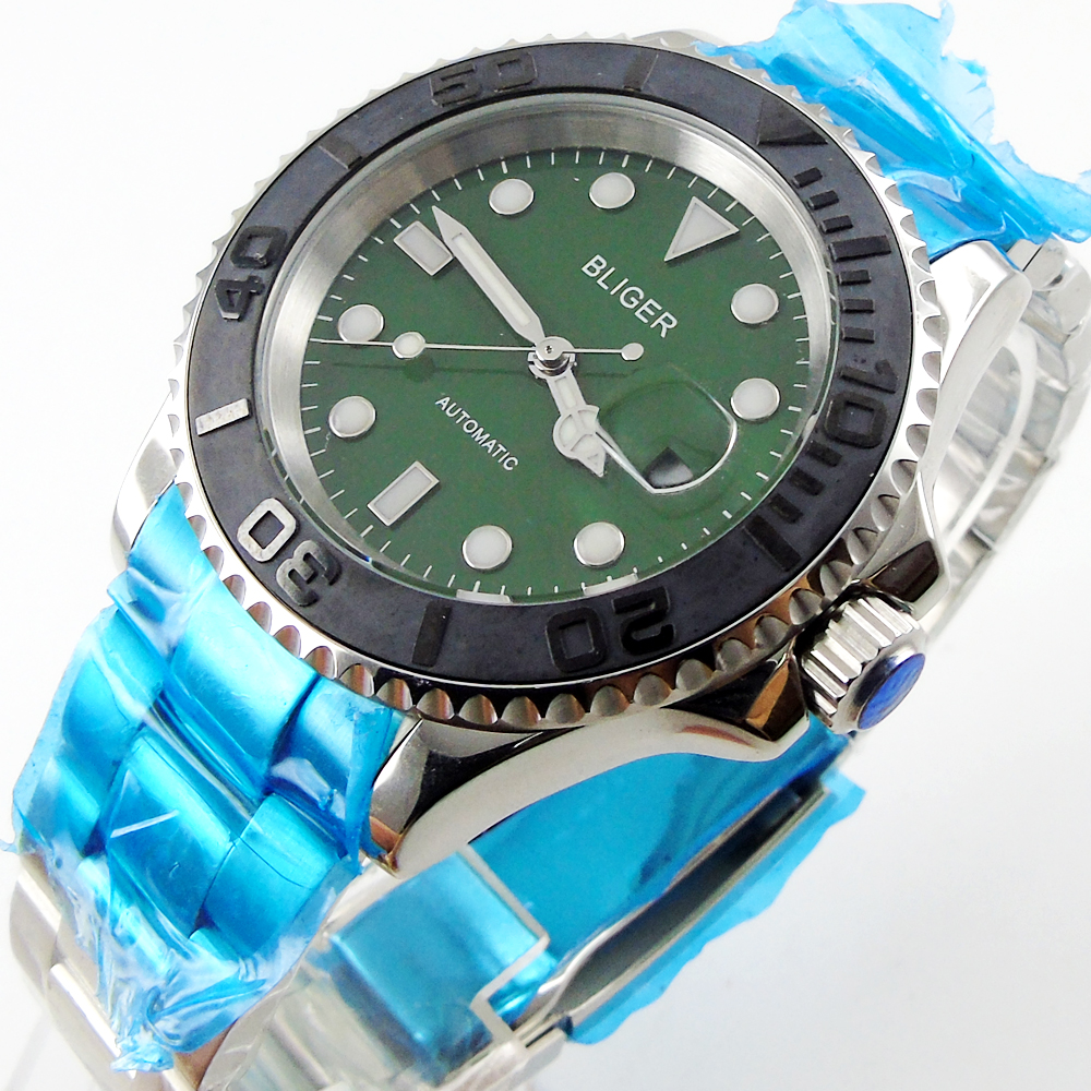 Bliger 40mm green dial date Ceramics Bezel Stainless steel case saphire glass Automatic movement Men's watch bliger 40mm gray dial date blue ceramics bezel stainless steel case saphire glass automatic movement men s watch