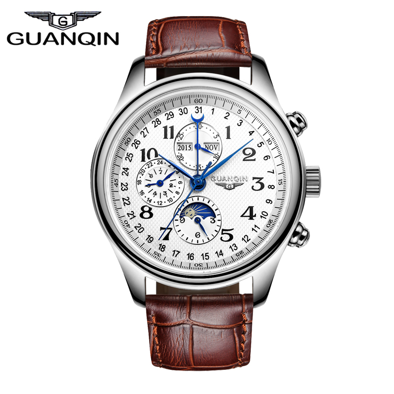 2016 GUANQIN Functional Watches Men To Brand Luxury Waterproof Genuine Leather Strap Watches Men Wristwatches With Moon Phase guess by marciano короткое платье