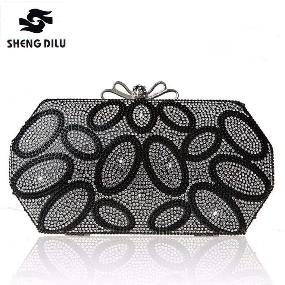 Designer NEW Diamond Rhinestone Evening Clutch Bag Free Shipping Chain Handbag Purse Evening Wedding Party Bag Silver Black Gold
