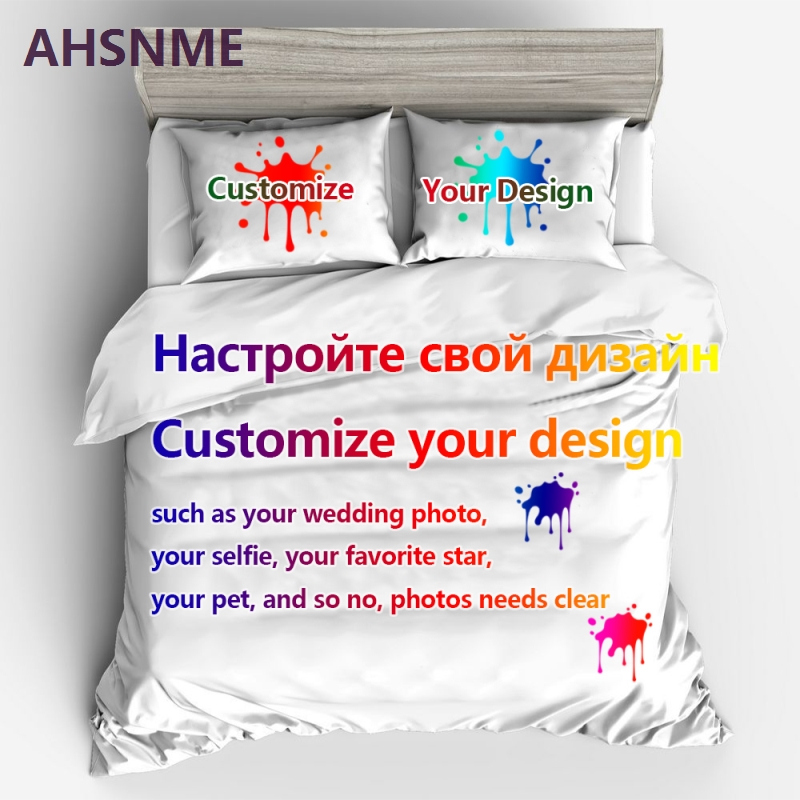 AHSNME Custom Bedding Set Your Photo Customized Design Duvet Cover Sets King Queen Twin Size Custom