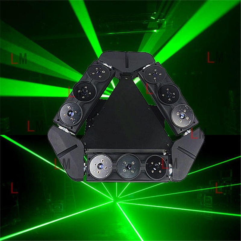 New design single green 50mw 9 eyes moving head spider laser light dj lights for bar show club