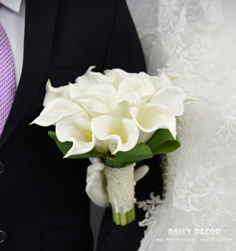 Real Touch PU Calla Lily wedding bridal bouquet bride Holding / hand hold flowers white artificial flower wedding bouquet