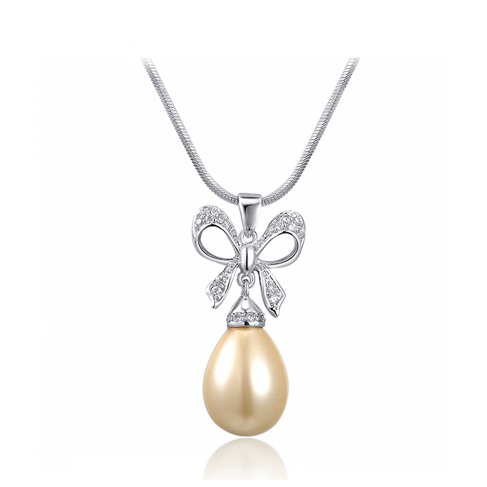 Tn 1983 Pearl Jewelry Teardrop Faux Pearl Charming Necklaces For Women  Bowknot Crystal Chain Necklace(