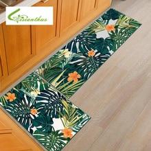 Floor Mat Carpet Plant Leaves Printed Living Room Doormat Bath Rug Hallway Kitchen Mats Water Absorption Non-slip Bedroom Mat недорого