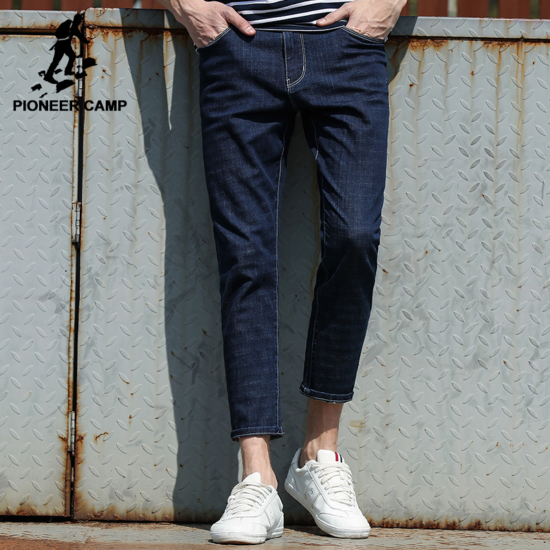 Pioneer Camp summer jeans men brand-clothing Ankle-Length denim Pants men top quality small stretch casual trousers ANZ707015 aismz new high quality jeans men casual fashion trouser slim fit ankle length scratched denim pants male brand clothing 60006