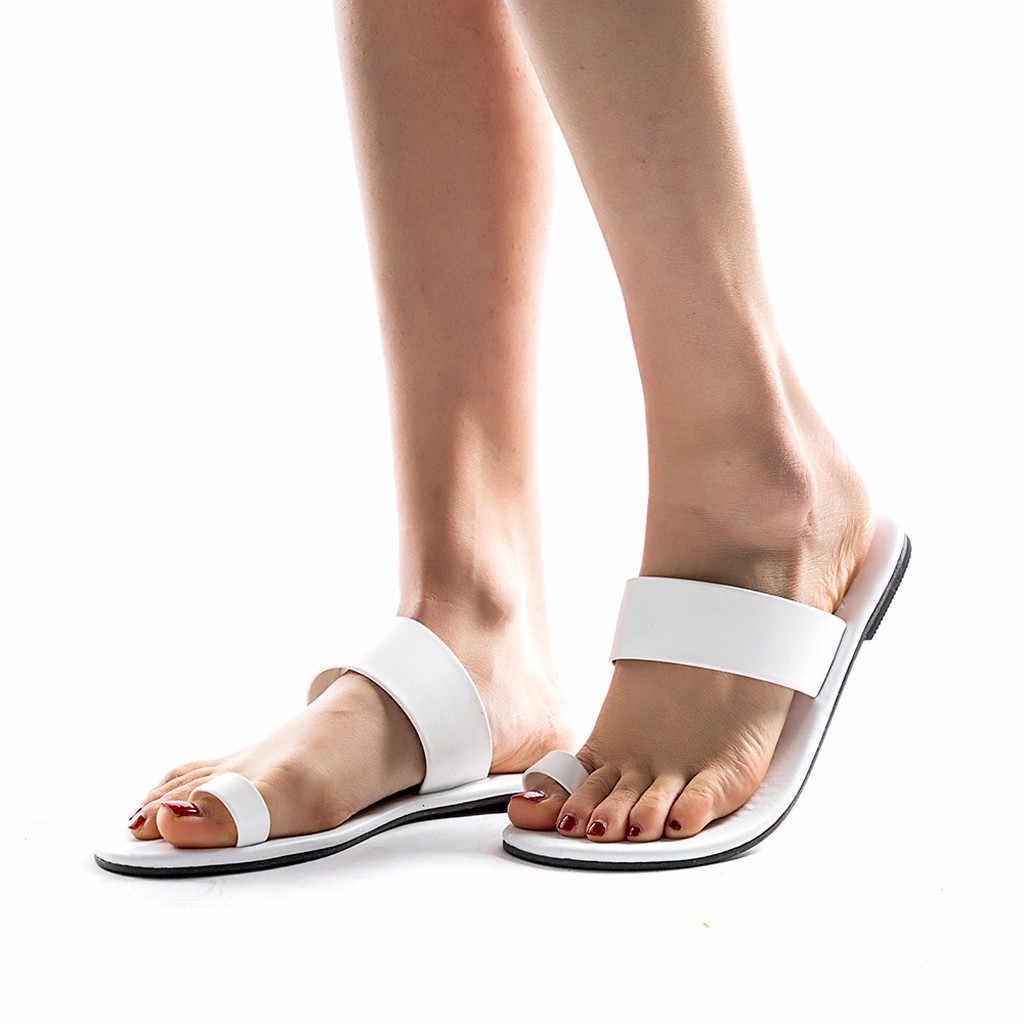 Seksi roma terlik kadınlar için yaz Retro plaj rahat ayakkabılar bayan düz düz topuk terlik plaj slaytlar roma deri Flip flop