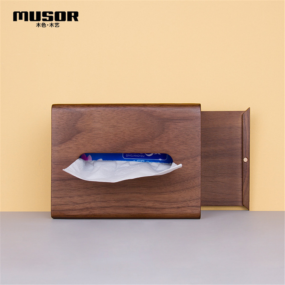 Image 2 - Face towel tray solid wood paper box box napkin box hotel restaurant bedroom wooden tissue box-in Tissue Boxes from Home & Garden