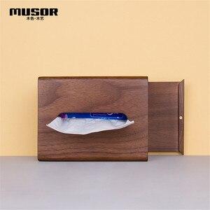 Image 2 - Face towel tray solid wood paper box box napkin box hotel restaurant bedroom wooden tissue box