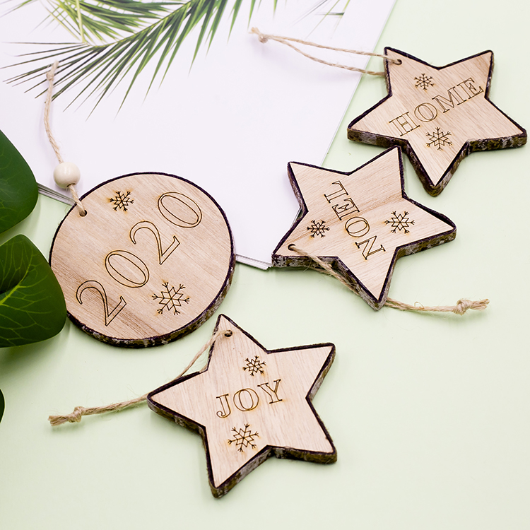 Cute Cartoon Smile Elk Wooden Ornament Christmas Tree Decoration Hanging Pendant Xmas Party Decor for Home Kids Gift Animal 2020 28
