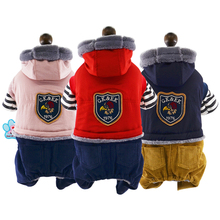 Warm Fleece Pet Dog Outfit Winter Coat Teddy Jumpsuit Overalls for Small Dogs Puppy Clothing Apparel  Hood XS S M L XL