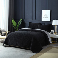 Black Luxury Flannel Bedspread Quilt Set 3pcs Winter Velvet Coverlets Embroidery Cotton Quilts Bed Cover King Queen Size Blanket