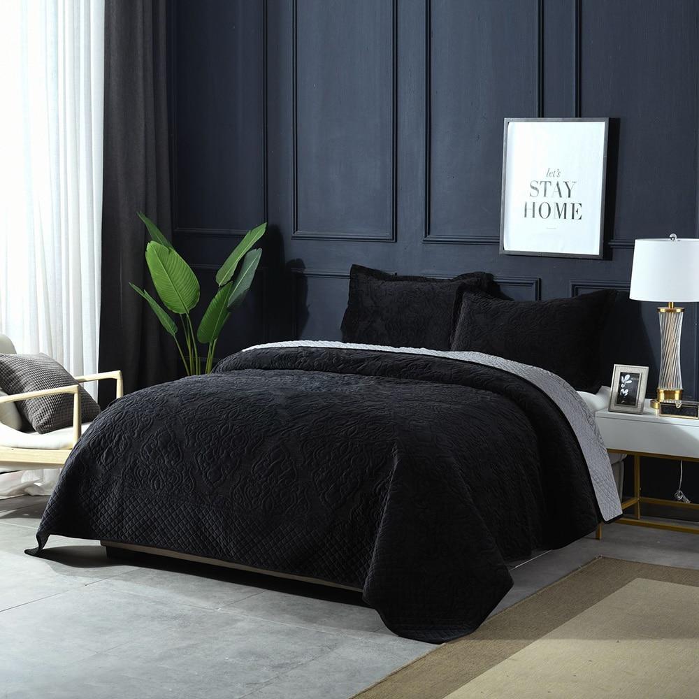Ev ve Bahçe'ten Örtüler'de Siyah Lüks Pazen Yatak Örtüsü Yorgan Seti 3 adet Kış Kadife Battaniyeler Nakış Pamuk Yorgan Yatak Örtüsü Kral Kraliçe Battaniye'da  Grup 1