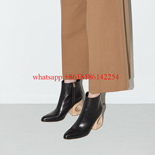 2016 Fahion Leather Boots Pointed-toe Wood Grain Heels Boots Women Single Ankle Boots Catwalk Shoes Ladies Sexy Boots Zapatos
