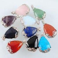 10PCS Natural Stone Dangle Pendants Teardrop Amethysts Opal Rose Quartzs Lapis Lazuli Agates Reiki Chakra Pendant Beads IC2028