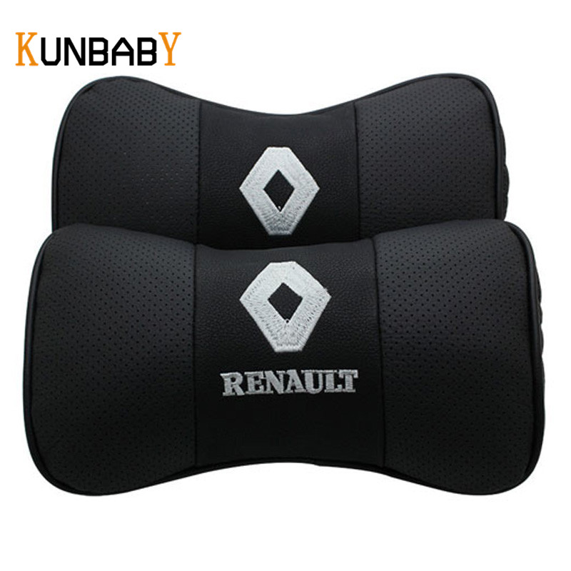 KUNBABY 1Pair Car Styling Leather Car Neck Pillow Head 3D Car Headrest Pillow Cushion Cover For